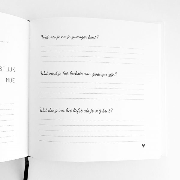 Zwanger dagboek vragen binnenkant
